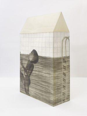 El Mito de la Piscina Sculpture. Graphite on paper, wax, 2017, 54 x 34,5 x 14,5 cm