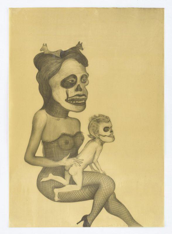 Madre hay una sola Drawing on paper, wax, 2014, 60,5 x 85,5 cm
