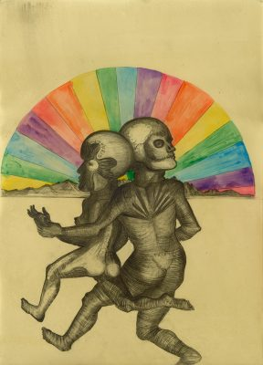 La Huída bajo el Arcoiris, 2016, Drawing on paper / Wax, 85 x 60.5 cm
