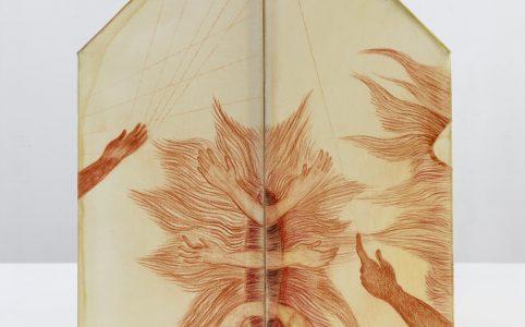 Sanguine in Papier/Wachs/Pigment Tridimensionelles Haus, 2015, 40 x 45 x 45 cm