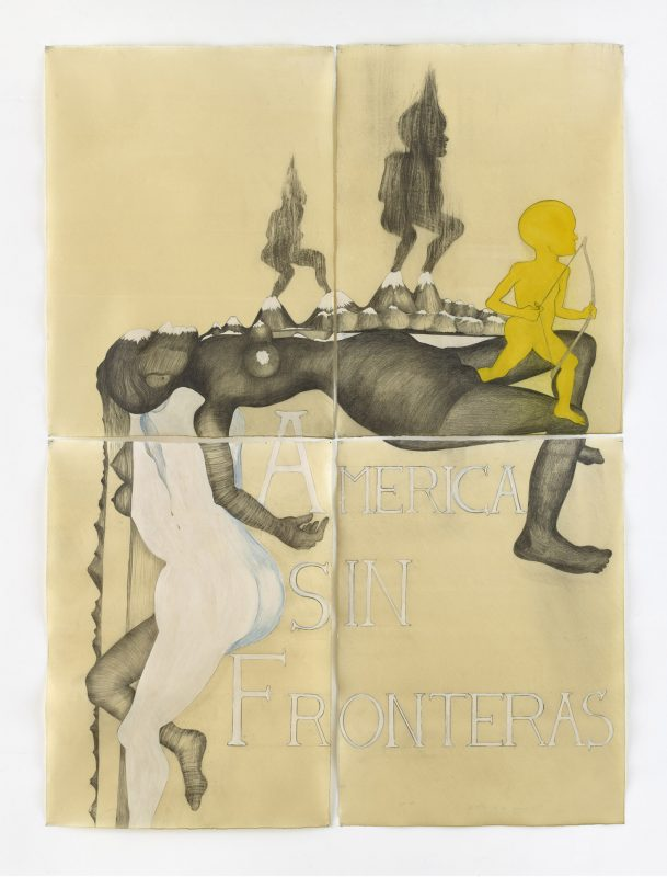 América sin Fronteras. Drawing on paper, wax, 2016, 213 x 157 cm