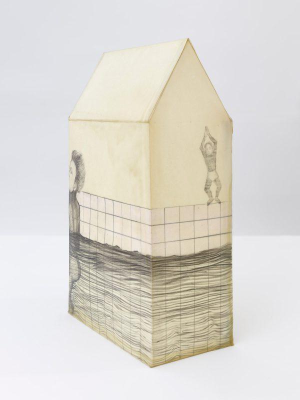 El Bañista Tridimensional, Graphite on paper, wax, 2017, 38 x 22 x 12,5 cm