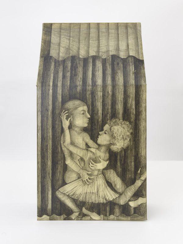 El Tango Feroz, Tridimensional, Graphite on paper, wax, 2017, 53 x 28x 12,5 cm