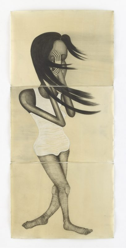 El Viento Drawing on paper, wax, 2016, 3 parts, 235 x 106 cm