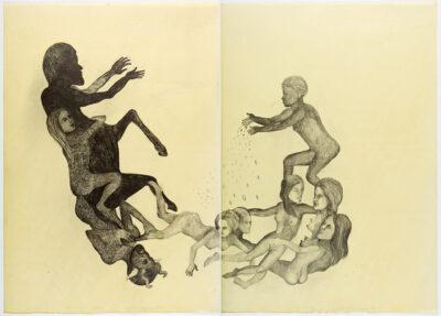 Entre el cielo y la tierra,,2012,Graphit auf Papier,Wax (Diptychon)