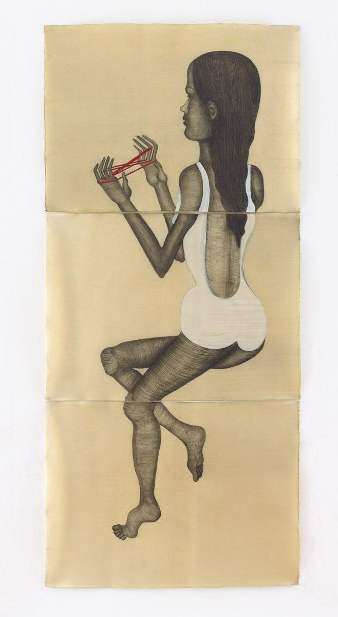 La Equilibrista, Drawing on Paper/Wax, 2016, 235 x 106 cm (triptico)