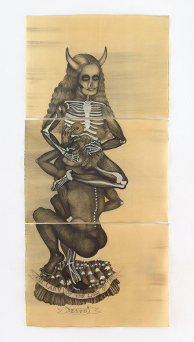Sandra Vasquez de la Horra Lady of the Land of the Death, 2018 Graphite and gouache on paper with wax 234 x 107 cm (92.13 x 42.13 inches)